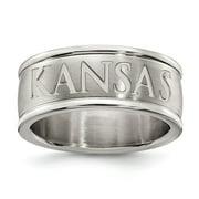 White Stainless Steel Ring Band Kansas NCAA University of
