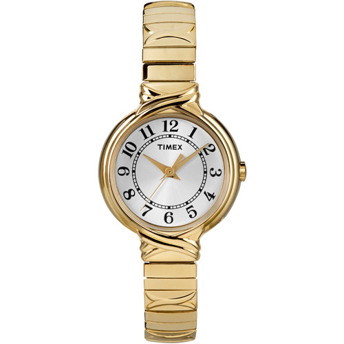 Timex T2N978 Women's Gold Tone Analog Watch With Silver Dial