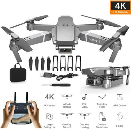 Newest Remote Control Drone E68 Quadcopter UAV with Camera 1080P 4K HD FPV 120° Wide-angle Camera + Optical Flow Positioning + V-Sign + Gesture Video + Real-time Transmission + Long-term Flight