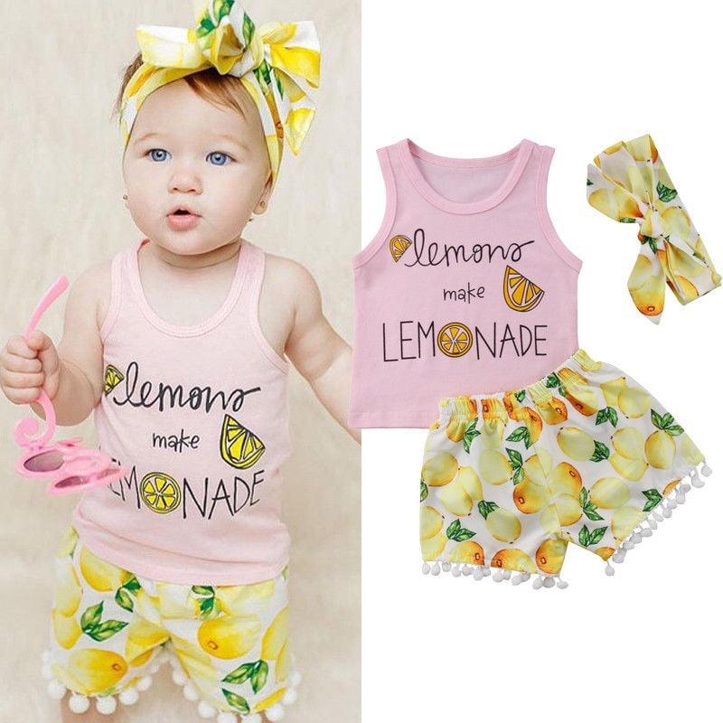 Newborn Infants Baby Girl Tassel Tank Tops T-Shirt+Floral Pants+Headband Outfits
