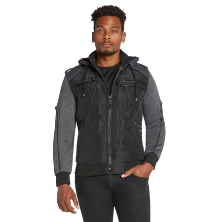 Mens Winter Coat Quilted Puffer Jacket Removable Hood 9 Crowns (Style A - Black,