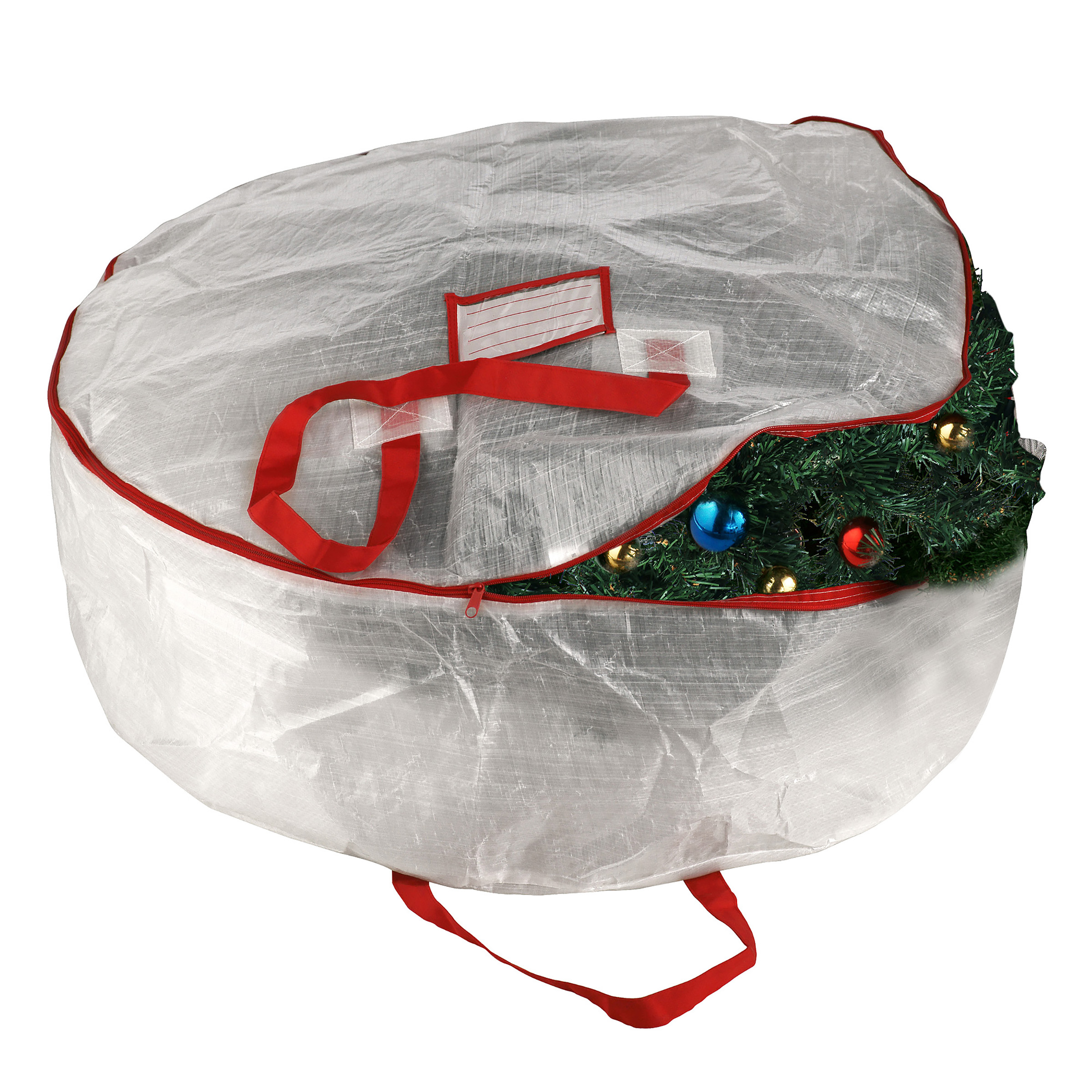 "1014 Elf Stor Deluxe White Holiday Christmas Wreath Storage Bag For 30"" Wreaths"