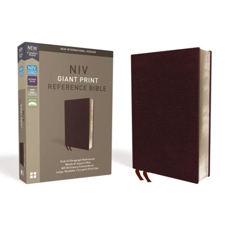 NIV, Reference Bible, Giant Print, Bonded Leather, Burgundy, Red Letter Edition, Comfort Print](Kids Rex Com)