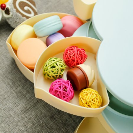 Double Layers Snack Box Candy Plates Petal-Shape Rotating Snack Tray Double-deck Dried Fruit Plate Storage Organizer Box - image 3 of 7