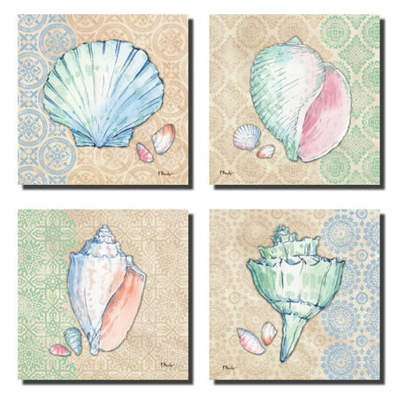 12x12 Patterned - 4 Lovely Serene Ocean Seashell and Conch Set on Aboriginal Patterned Background; Four 12x12 Poster Prints. Beige/Pink/Green/Blue