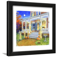 Halloween Porch Framed Print Wall Art By Edgar Jerins