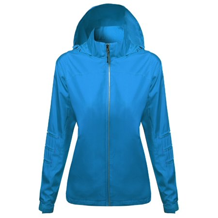 Aqua Sweatshirt - FashionOutfit Women's Active Zip Up Detachable Hooded Windbreaker
