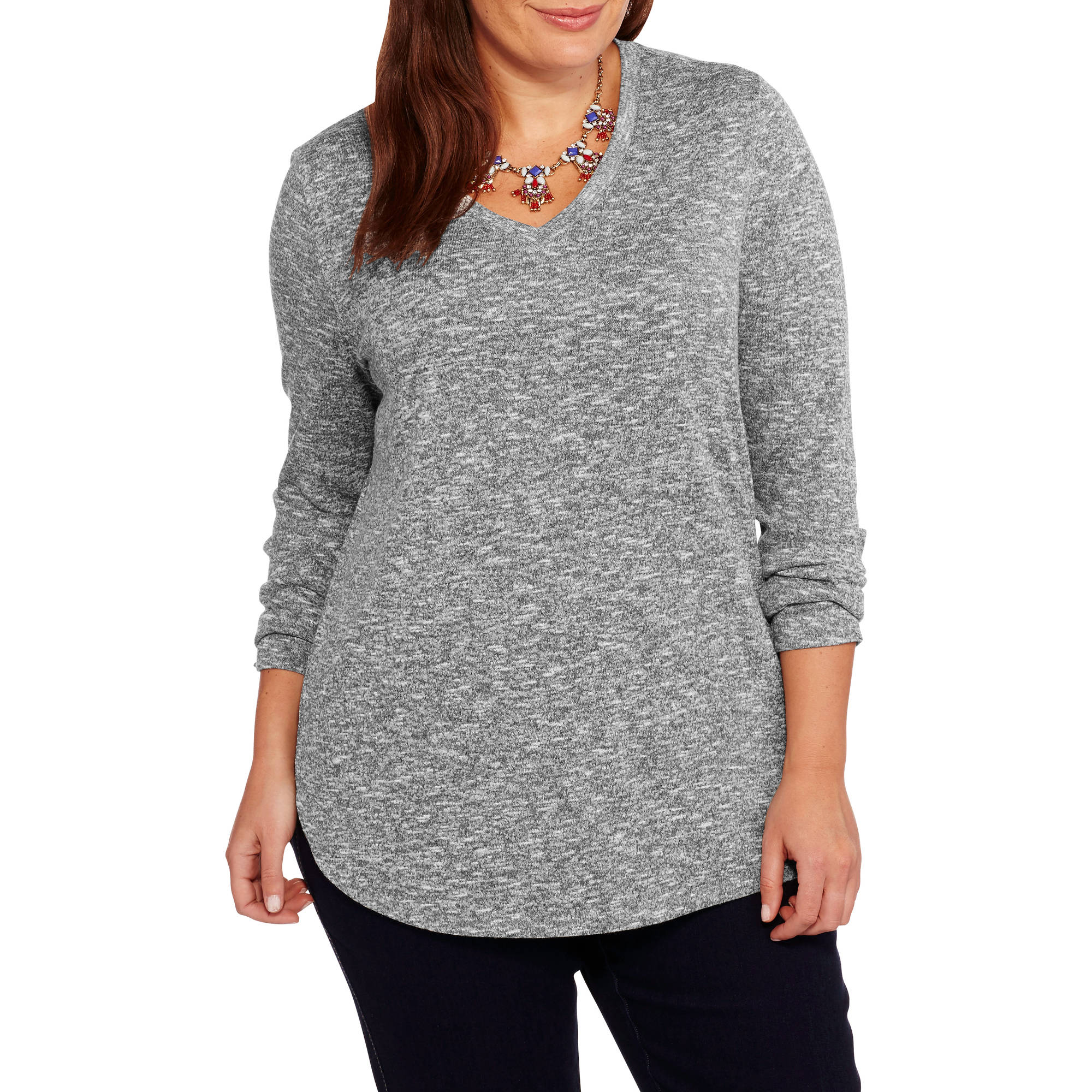Faded Glory Women's Plus-Size Hacci V Neck Long Sleeve Knit Top