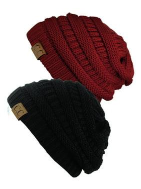 C.C Trendy Warm Chunky Soft Stretch Cable Knit Beanie Skully, 2 Pack Black/Burgundy