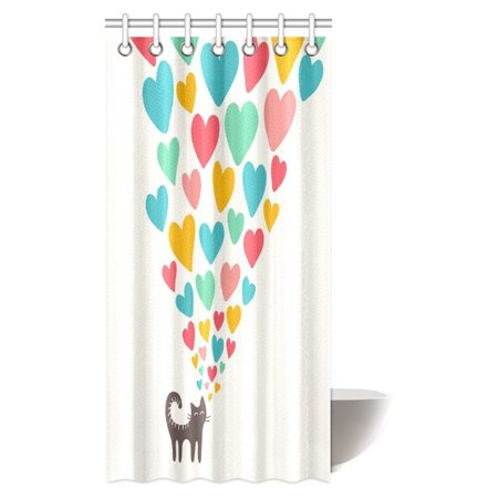 - MYPOP Cat Lover Shower Curtain, Cute Cat in Love with Colorful Different Sizes of Hearts Happy Sweet Clipart Fabric Bathroom Shower Curtain with Hooks, 36 X 72 Inches