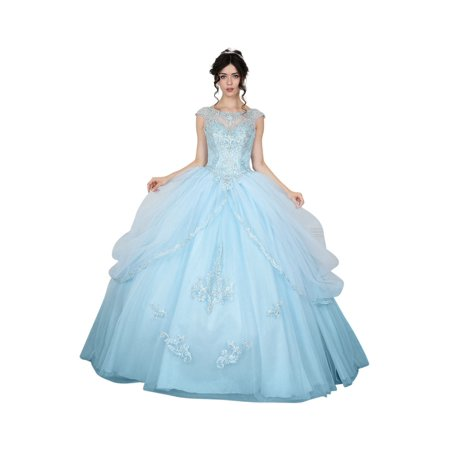 Calla Collection Womens Bahama Blue Open Back Quinceanera Ball Dress