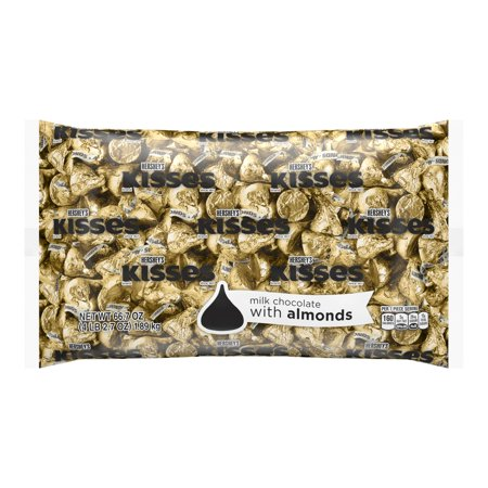 Hershey's Kisses Candy, Milk Chocolate with Almonds, Gold Foil, 4.1 Lb