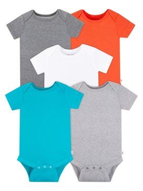 Little Star Organic Baby Girls or Baby Boys Short Sleeve Pure Organic True Brights Bodysuits, 5-Pack