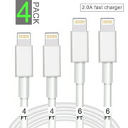 iPhone Charger Cable 4 PACK Lightning & Sync Cable Cord Compatible with iPhone X Case/8/8 Plus/7/7 Plus/6/6s Plus/5s/5,iPad Mini