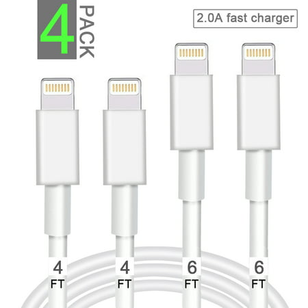 iPhone Charger Cable 4 PACK Lightning  & Sync Cable Cord Compatible with iPhone X Case/8/8 Plus/7/7 Plus/6/6s Plus/5s/5,iPad Mini Ipod Charger Cord