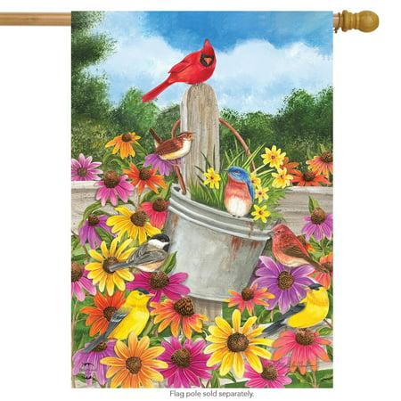 spring gathering cardinal house flag floral bucket 28