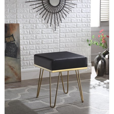 Chic Home Catha Square Ottoman PU Leather Upholstered Hairpin Legs ()
