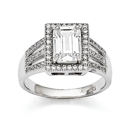 Sterling Silver Pave Rhodium-plated and Cubic Zirconia Brilliant Embers Ring - Ring Size: 6 to (Sterling Silver Rhodium Brilliant Pave)