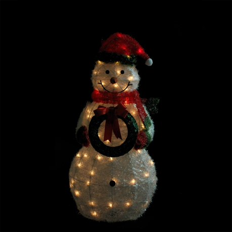 38 lighted sparkling tinsel sisal snowman with wreath for 3 d lighted christmas pig holiday outdoor decoration