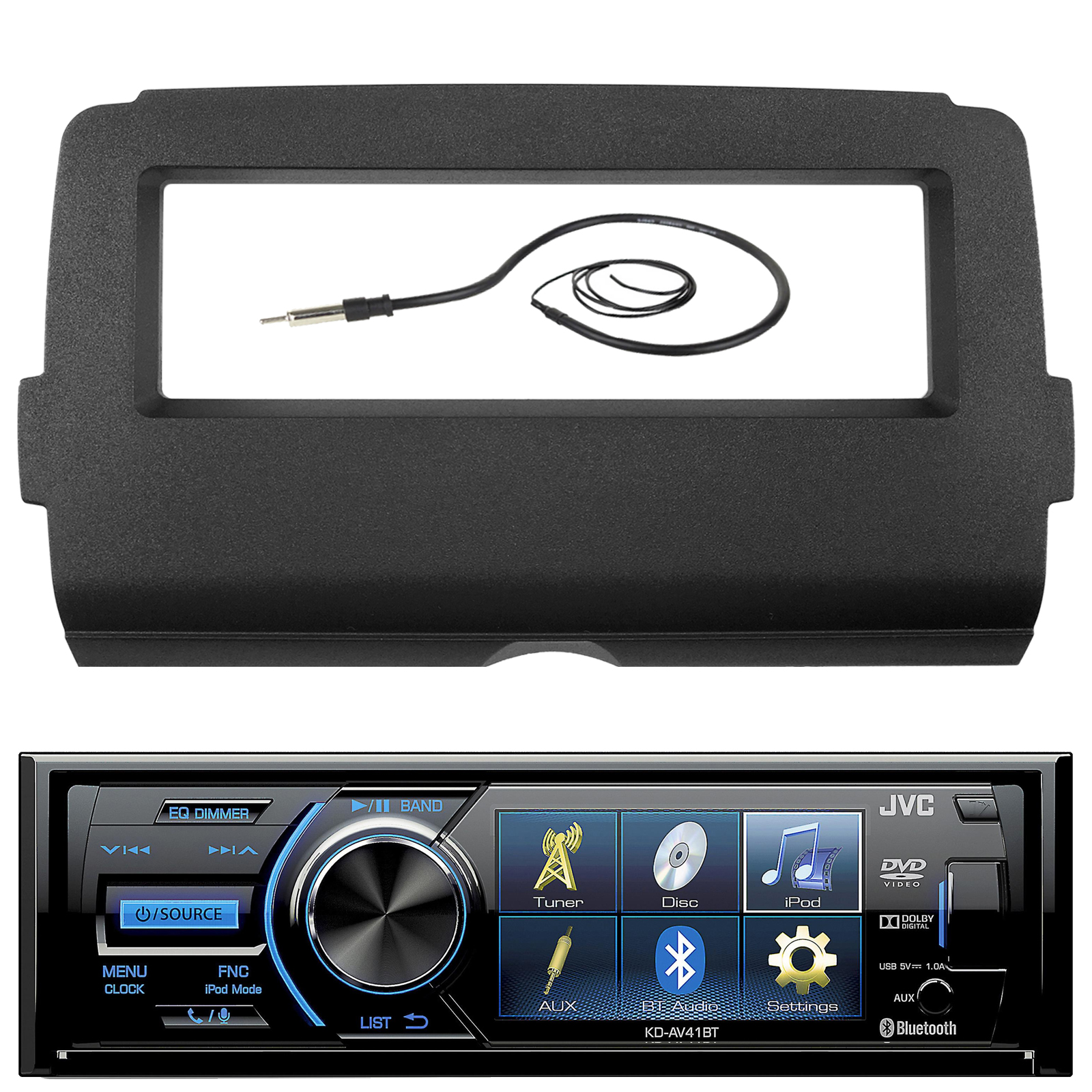 """Audio Bundle For 2014 and Up Harley - JVC KD-AV41BT 3"""" Marine DVD USB/AUX Bluetooth Stereo Receiver Combo With Dash Installation Kit for Single DIN Radios for Motorcycles, Enrock 22"""" AM/FM Antenna"""
