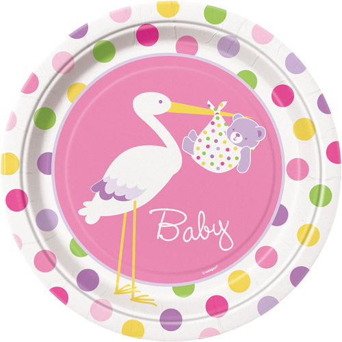 "9"" Pink Stork Baby Shower Plates, 8ct"