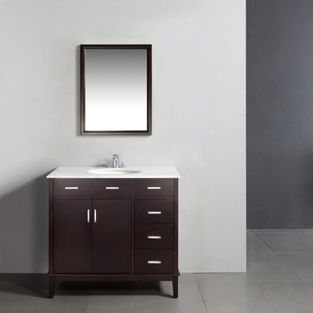 "Brooklyn + Max Rockport 36"" Dark Espresso Brown Bath Vanity"