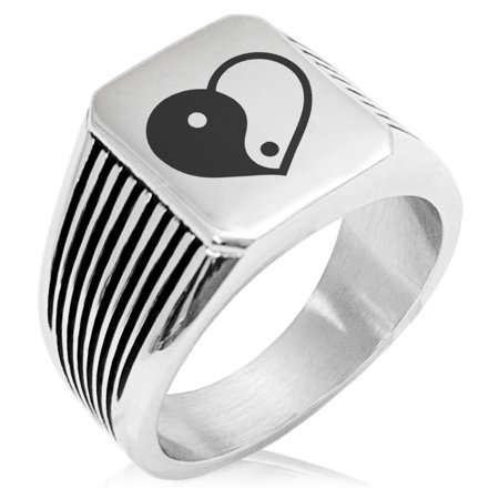 - Stainless Steel Yin Yang Heart Needle Stripe Pattern Biker Style Polished Ring