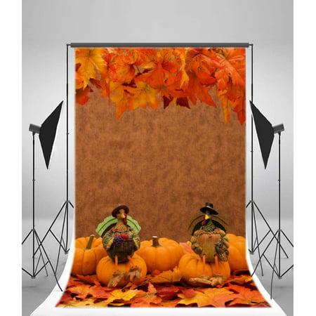 HelloDecor Polyester Fabric Autumn Leaves Pumpkins Backdrop 5x7ft Photography Backdrop Turkeys Thanksgiving Day Children Baby Kids Photos Video Studio Props (Thanksgiving Backdrop)