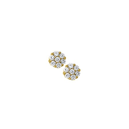 April Birthstone Cubic Zirconia 7 Stone Cluster Earrings in 14K Yellow Gold - image 2 de 2