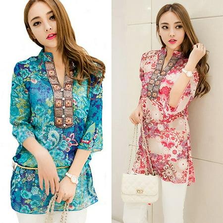 Korean Style Trendy Fashion - ZeAofa Women's Fashion Summer Korean Style Ethnic Loose Chiffon Blouse T-shirt