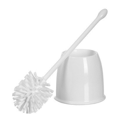 Casabella White Bowl Brush Set with Nylon Bristle Brush and Holder