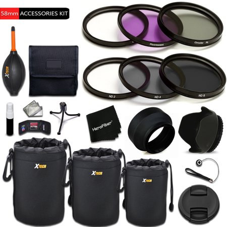 PREMIUM 58mm Accessories KIT includes: 58mm ND Filter KIT (ND2 ND4 ND8) + 3 Piece 58mm Filter Set + 3 Lens Pouch Set + 58mm Hard / Soft Lens Hood + 58mm Lens Cap + Deluxe Cleaning Kit +