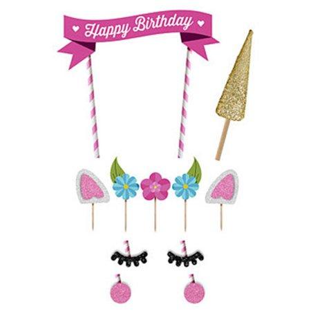 outgeek cake topper set cute unicorn pattern happy birthday banner