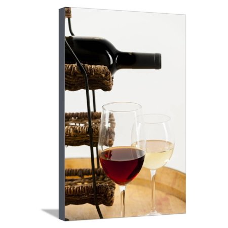 USA, Washington State, Seattle. Glass of red and white wine on a barrel. Stretched Canvas Print Wall Art By Richard Duval