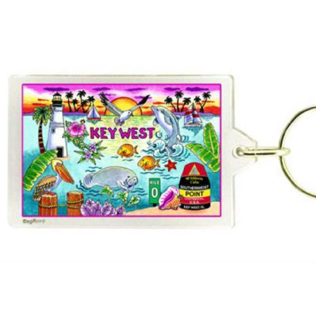 Key West Florida Map Acrylic Rectangular Souvenir Keychain 2.5 inches X 1.5 inches