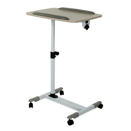 Mount-It! Mobile Bed Side Tray with Height Adjustable Platform and Wheels