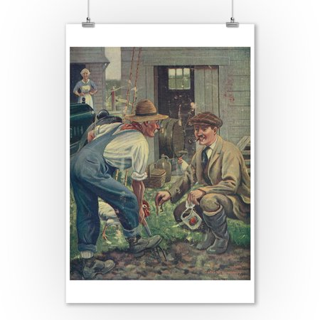 National Sportsman   Man Gathering Worms For Fishing  Talking With Farmer  Farmers Wife  9X12 Art Print  Wall Decor Travel Poster