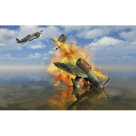- A German Ju-87 Stuka dive bomber shot down by a British Spitfire Poster Print by Mark StevensonStocktrek Images