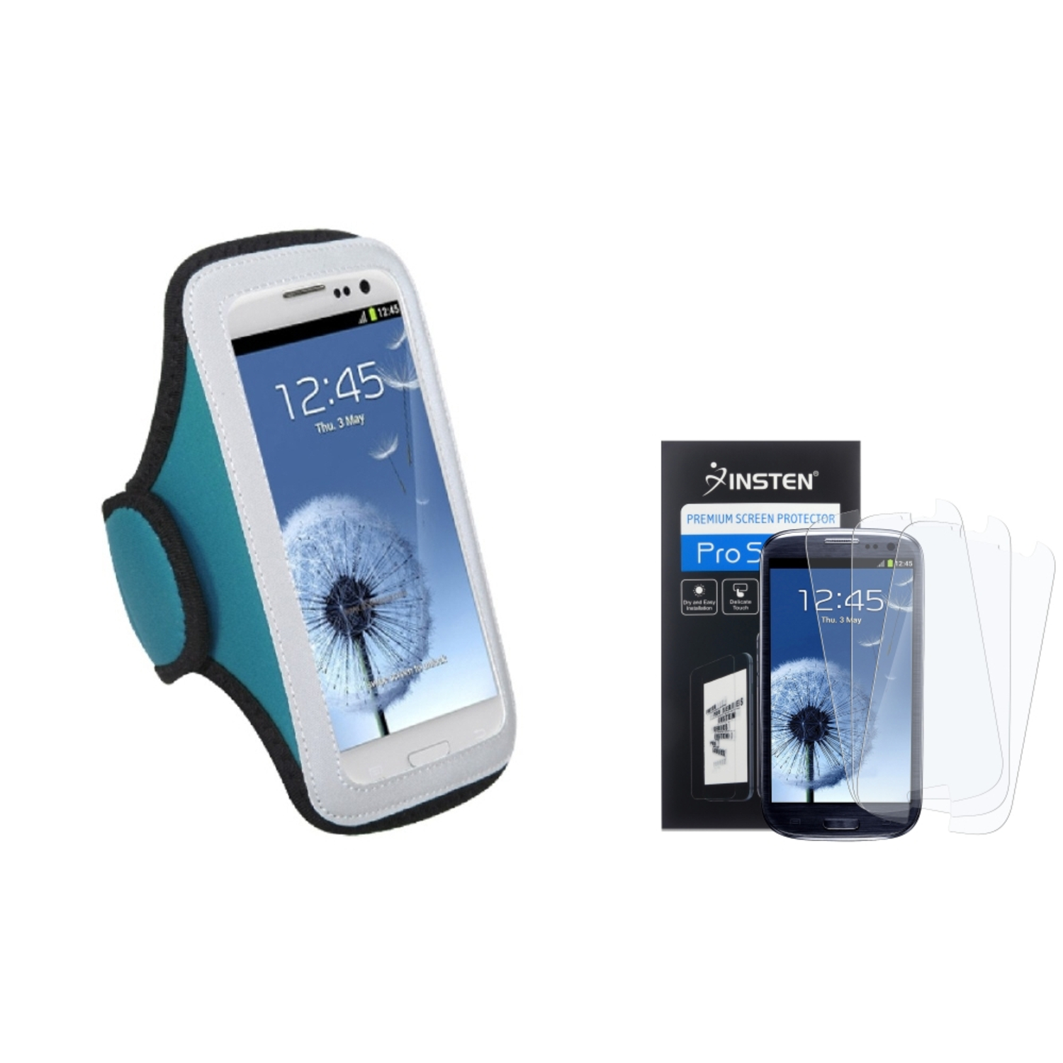Insten Blue GYM Armband Phone Case+3 Pack Matte Guard For Samsung Galaxy S III S3 i9300