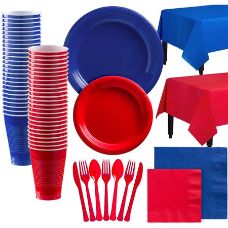 Party City Mix and Match Plastic Tableware Kit for 100 Guests, 852 Pieces, Includes Plates, Napkins, and Table Covers - Party City Rockville