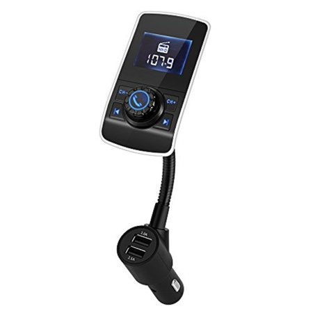 FM Transmitter Wireless Bluetooth FM Transmitter Car Kit Radio Receiver with 5V/2.1A USB Charger Output Support USB Flash Driver and Micro SD Card AUX Output and Input