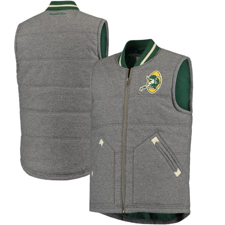 Green Bay Packers Mitchell & Ness Margin of Victory Vest - Gray (Mitchell And Ness Jacket)