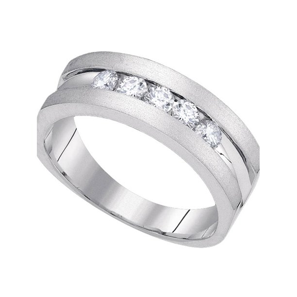 10kt White Gold Mens Round Diamond Wedding Band Ring 1/2 Cttw Diamond Fine Jewelry Ideal Gifts For Mens Gift Set From Heart