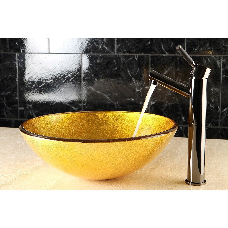 Kingston Brass Gold and Brown Glass Vessel Bathroom Sink