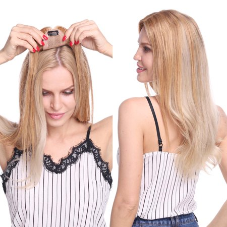 S-noilite Silk Base Human Hair Toppers for Women Clip in Top Hairpiece Toupee for Thinning Hair Natural