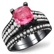 Noori Collection Noori 18k Black Gold 1 3/5 ct TDW White Diamond and Cushion-cut Pink Sapphire Engagement Ring Bridal Set
