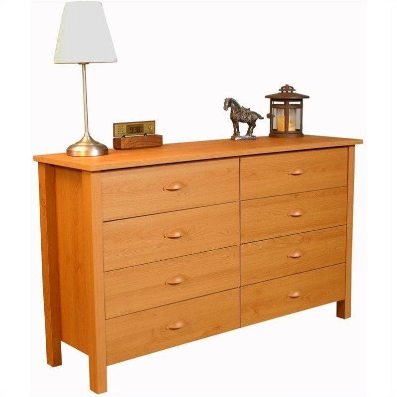 Venture Horizon Nouvelle 8 Drawer Lowboy Double Dresser in Oak