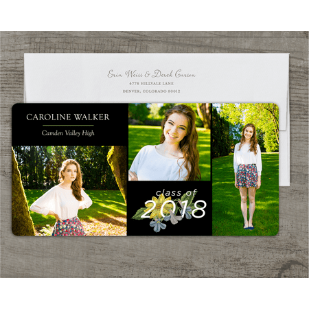 Cheap Graduation Announcements (Personalized Graduation Announcement - Grad Garden - 4 x 8 Flat)