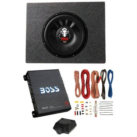 "Boss Audio 12"" 1600W 4 Ohm Subwoofer + Shallow Enclosure + Amplifier & Wire Kit"