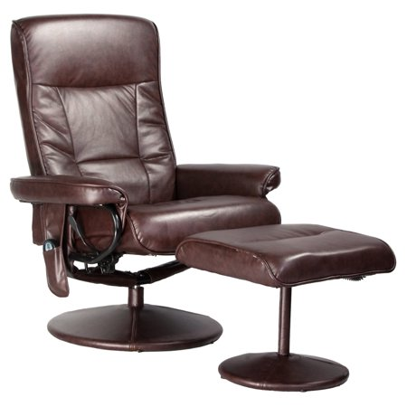 Relaxzen Comfort Soft Reclining Massage Chair And Ottoman  Dark Brown